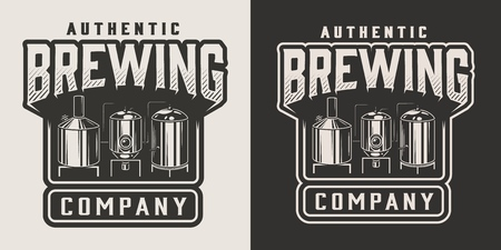 Vintage monochrome beer emblem with brewing machine isolated vector illustration Иллюстрация