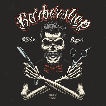 Vintage barbershop colorful badge with skeleton hands holding barber tools and skull with trendy hairstyle and mustache isolated vector illustration Illustration