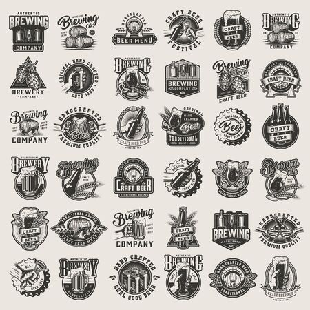 Vintage monochrome beer designs big set with brewing emblems badges prints and labels on light background isolated vector illustration