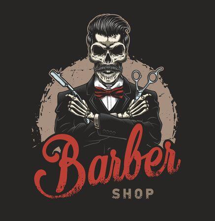 Vintage barbershop with gentleman skeleton in tuxedo holding razor and scissors isolated vector illustration