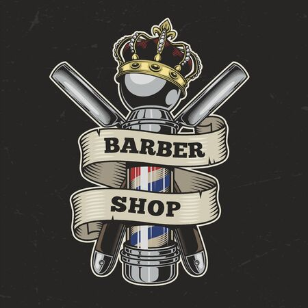 Vintage barbershop colorful with straight razors and crown on barber pole isolated vector illustration