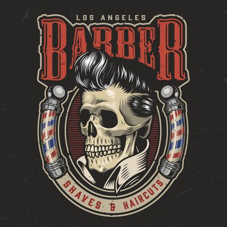 Colorful barbershop round with stylish skull and barber poles in vintage style isolated vector illustration Illusztráció