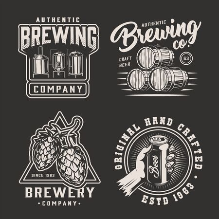 Vintage monochrome brewery emblems with brewing machine wooden casks of beer hop cones male hand holding can isolated vector illustration