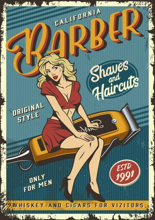 Vintage barbershop poster with pin up attractive blonde woman sitting on barber electric hair clipper vector illustration