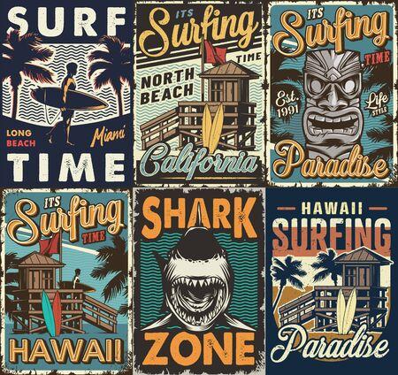 Afiches de surf coloridos vintage con surf bus tribal hawaiano tiki máscara tiburón casa de madera hombre sosteniendo tablas de surf vector ilustración
