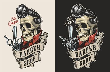 Vintage barbershop colorful print with scissors razor and skull with stylish hairstyle isolated vector illustration