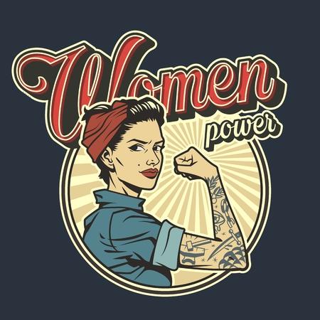 Vintage kolorowa odznaka moc kobiety z piękną silną dziewczyną w mundurze z tatuażem na ramieniu na białym tle ilustracji wektorowych