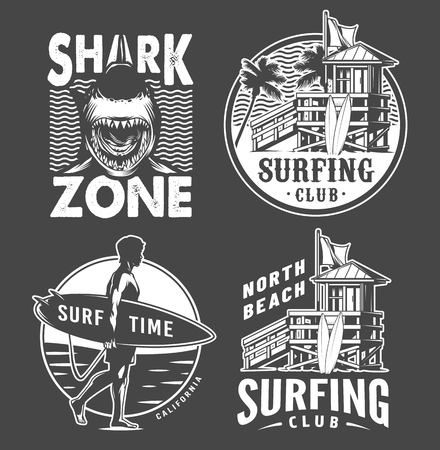 Monochrome vintage surfing badges set with surfers house man holding surfboard shark and surf van isolated vector illustration  イラスト・ベクター素材