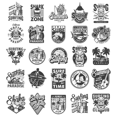 Vintage surfing sport labels with man holding surfboards sharks surfers house palms sea waves fruits ukulele hibiscus flowers travel van shaka hand sign turtle isolated vector illustration Vectores