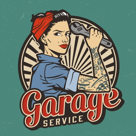 Vintage garage service emblem with pin up pretty girl with in bandana and tattoo on arm holding wrench isolated vector illustration