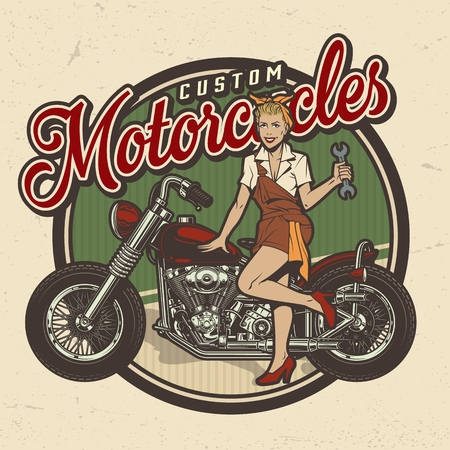 Vintage colorful motorcycle repair service logo with pin up pretty woman holding wrench and standing near chopper isolated vector illustration Illustration