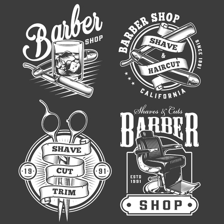 Monochrome barbershop emblems set with straight razors glass of whiskey scissors barber chair in vintage style isolated vector illustration Ilustrace