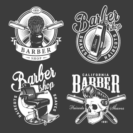 Vintage barbershop logos with shaving brush barber chair electric hair clipper razors stylish hipster skull isolated vector illustration Imagens - 121467119