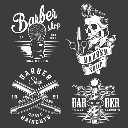 Vintage monochrome barbershop labels with professional barber instruments and stylish skull on dark background isolated vector illustration