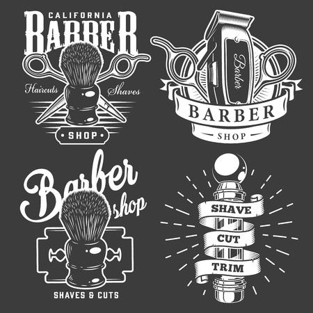 Insignias de barbería vintage con accesorios de barbero hoja de afeitar de poste sobre fondo oscuro aislado ilustración vectorial