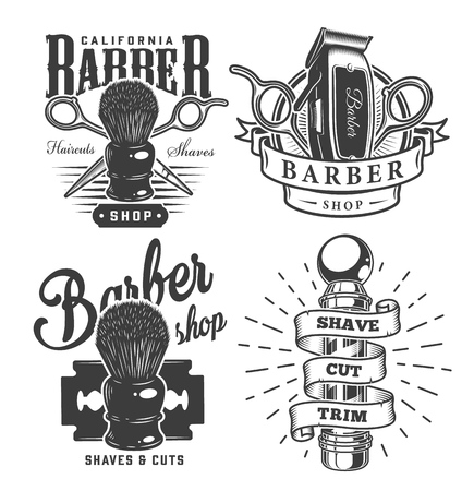 Vintage barbershop prints with shaving brush scissors electric hair clipper razor blade barber pole in monochrome style isolated vector illustration