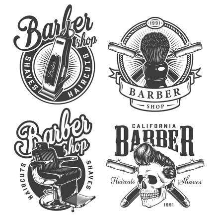 Etichette monocromatiche vintage da barbiere con tagliacapelli elettrico pennello da barba confortevole sedia teschio con acconciatura alla moda rasoi incrociati illustrazione vettoriale isolato