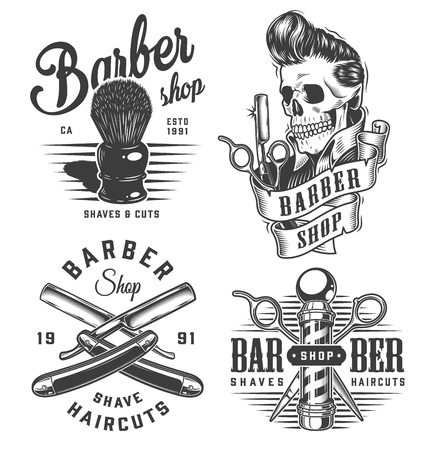 Vintage monochrome barbershop prints with shaving brush scissors barber pole razors skull with trendy hairstyle isolated vector illustration