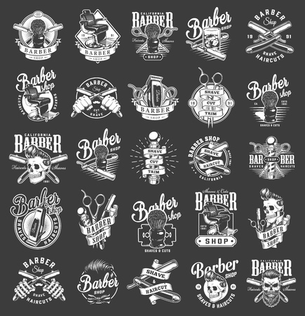 Vintage monochrome barbershop emblems with barber accessories comfortable chair glass of whiskey hipster skulls with stylish hairstyles isolated vector illustration Stock Illustratie
