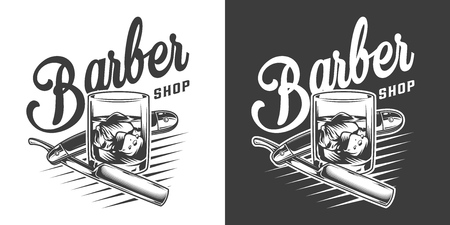 Vintage barbershop monochrome logotype with razor and glass of whiskey and ice cubes isolated vector illustration