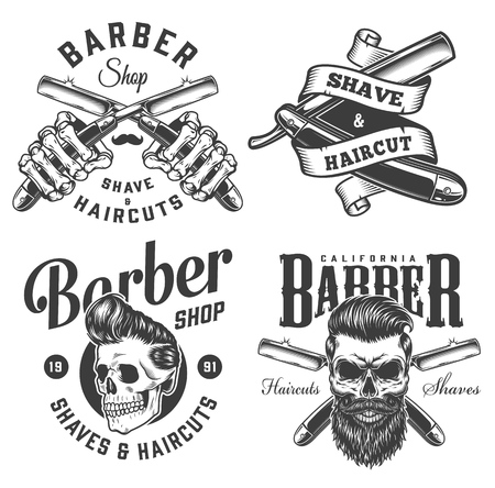 Vintage monochrome barbershop logotypes with skeleton hands holding straight razors stylish and trendy hipster skulls isolated vector illustration