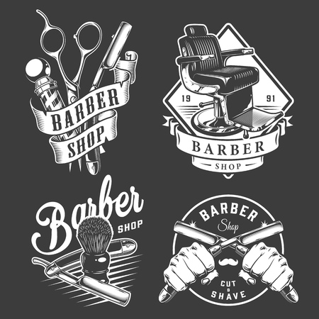 Vintage barbershop badges with barber accessories comfortable chair male hands holding razors isolated vector illustration