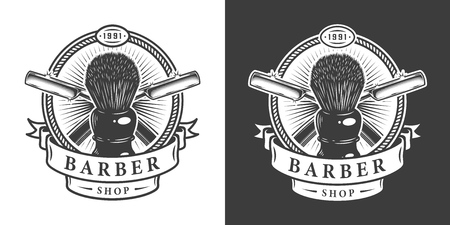 Vintage barbershop emblem with shaving brush and crossed metal razors in monochrome style isolated vector illustration