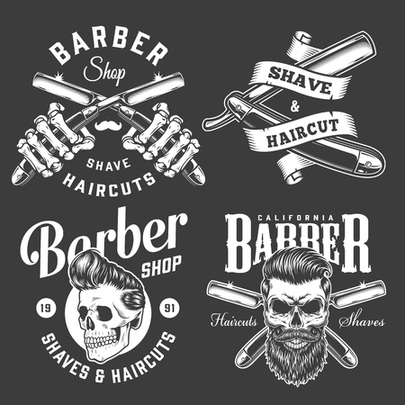 Vintage barbershop monochrome prints with skeleton hands holding crossed razors and hipster skulls with trendy hairstyles isolated vector illustration