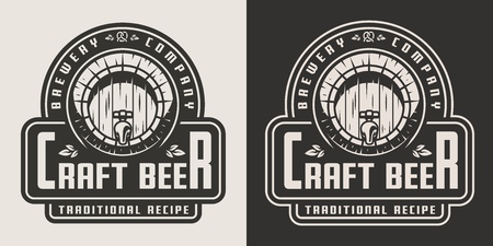 Emblema de cerveza artesanal vintage con barril de madera e inscripciones en estilo monocromo aislado ilustración vectorial