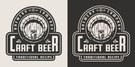 Emblema di birra chiara artigianale vintage con botte di legno e iscrizioni in stile monocromatico isolato illustrazione vettoriale