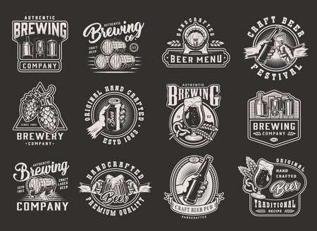 Vintage monochrome brewing designs with beer emblems badges prints on dark background isolated vector illustration
