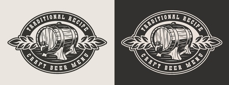 Monochrome brewery badge with wooden beer cask in vintage style isolated vector illustration