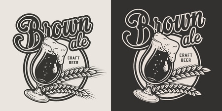 Monochrome craft beer label with wheat ears and beer glass in vintage style isolated vector illustration