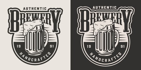 Vintage brewery monochrome badge with mug full of beer isolated vector illustration