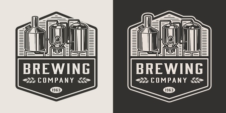 Vintage brewery monochrome logotype with brewing equipment isolated vector illustration Vectores