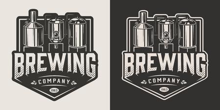 Etichetta vintage birreria con macchina per la produzione di birra in illustrazione vettoriale isolato stile monocromatico