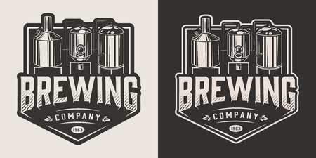 Vintage brewery label with brewing machine in monochrome style isolated vector illustration