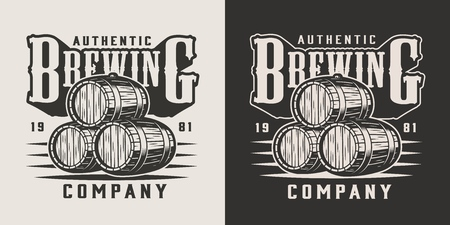 Vintage brewing company emblem with wooden barrels of craft beer in monochrome style isolated vector illustration