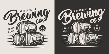 Vintage monochrome brewery label with wooden casks of beer isolated vector illustration