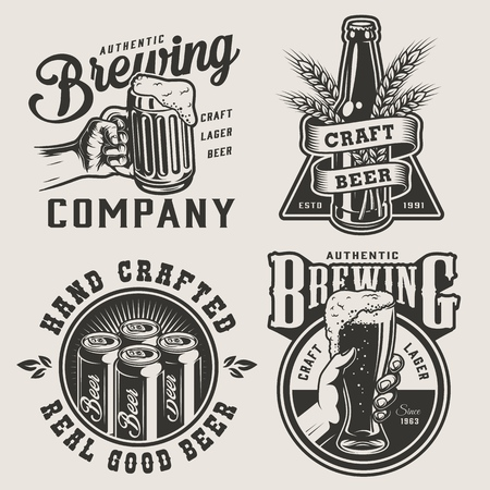 Vintage monochrome brewery prints with metal cans bottle barley ears male hands holding beer mug and glass isolated vector illustration