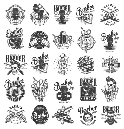 Vintage monochrome barbershop labels with barber pole scissors razors shaving brush electric hair clipper comfortable chair hipster skulls isolated vector illustration