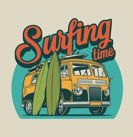 El concepto colorido del tiempo de surf de la vendimia con el autobús de surf y las tablas de surf aisló el ejemplo del vector Ilustración de vector