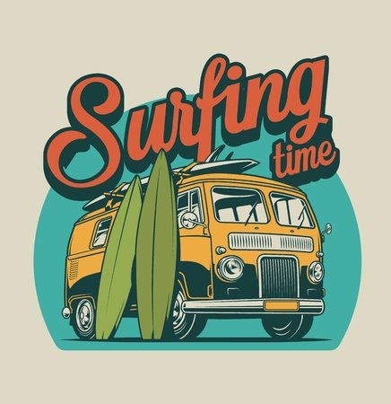 Vintage surfing time colorful concept with surf bus and surfboards isolated vector illustration Иллюстрация
