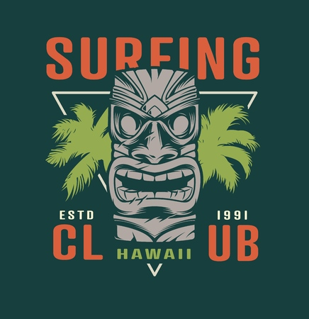 Colorful surfing time label with hawaiian tribal tiki mask in vintage style isolated vector illustration Zdjęcie Seryjne - 121467191