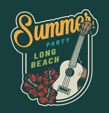 Vintage summer party colorful badge with ukulele and hibiscus flowers isolated vector illustration