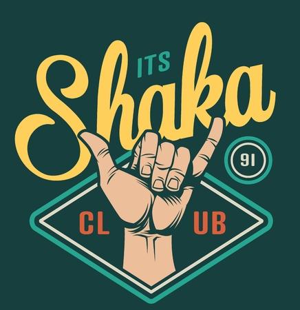 Emblema colorido del club de surf con el gesto de la mano del shaka de la persona que practica surf en la ilustración del vector aislado del estilo del vintage Ilustración de vector