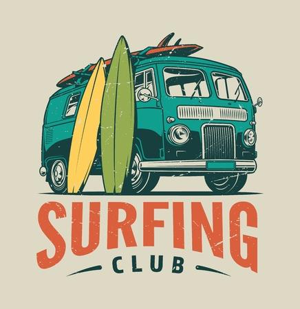 Vintage surfende bunte Vorlage mit Sommerreisewagen und Surfbrettern isolierte Vektorillustration