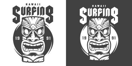 Vintage monochrome surfing sport print with hawaiian traditional tiki mask isolated vector illustration Illustration