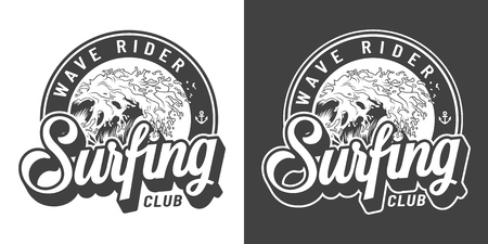 Vintage monochrome surfing club emblem with inscriptions and big sea wave isolated vector illustration