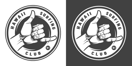 Vintage surfing monochrome round emblem with shaka hand sign isolated vector illustration